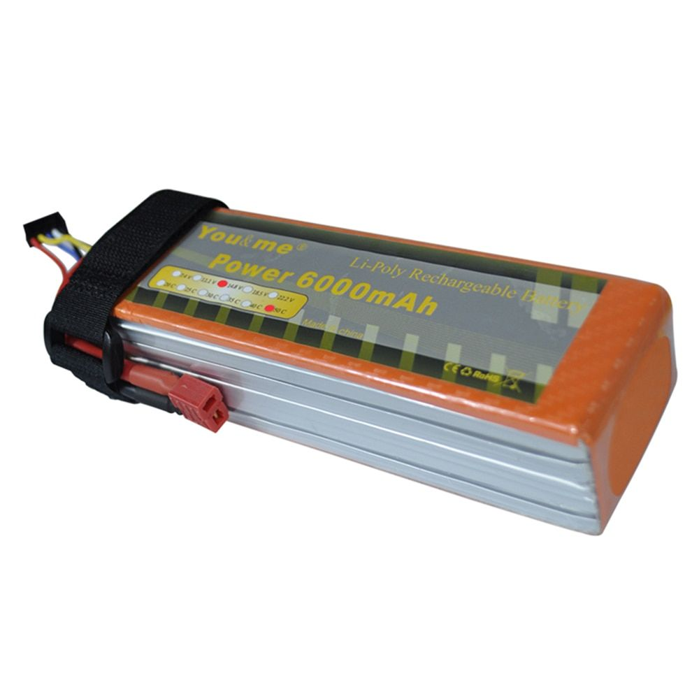 Free shipping to RU Youme 14.8V 6000mah 50C Burst 100C Lipo 4S Battery AKKU for RC Helicopter Car Boat Quadcopter