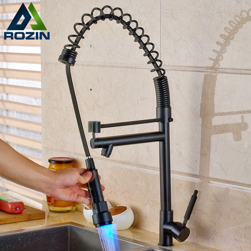 Oil Rubbed Black Heighten Kitchen Sink Faucet One Handle Single Hole Spring LED light Kitchen Mixers Rotate Spout