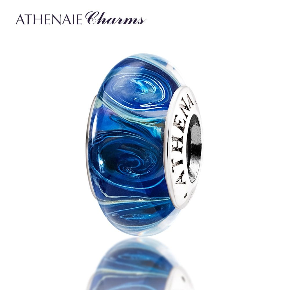 ATHENAIE Genuine Murano Glass 925 Silver Core Galaxy <font><b>Charms</b></font> Bead Fit European Bracelet Necklace For Women DIY Christmas Jewelry