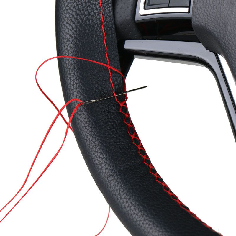 DIY Steering Wheel Covers/ Soft Fiber Leather braid on the steering-wheel of Car  With Needle and Thread Interior accessories