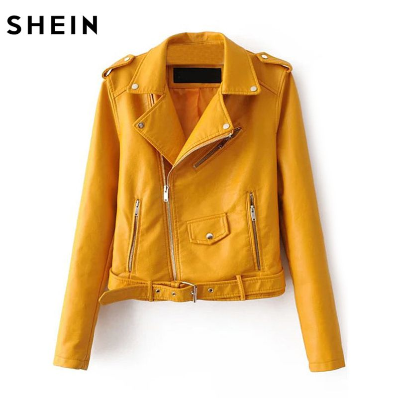 SHEIN Womens Casual Coat New Arrival Autumn Lapel Long Sleeve Faux Leather Belted Moto Basic Jacket With Zipper Outwear