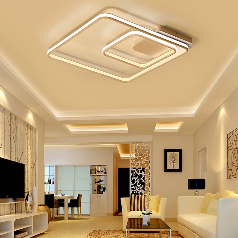 NEO Gleam Square Rings Living Room Bedroom Study Room Led Ceiling Lights Modern Led Double Glow Aluminum Ceiling Lamp Fixtures