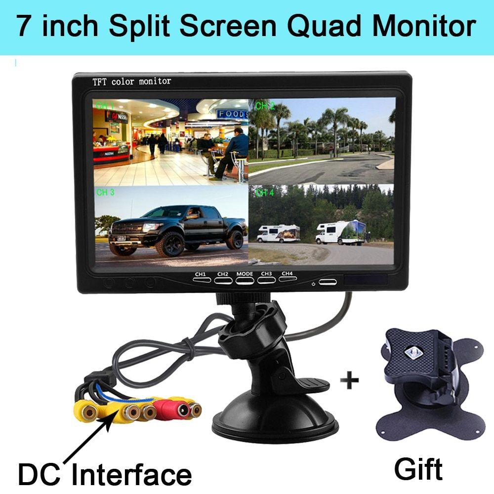Podofo 7 Inch Split Screen Quad Monitor 4CH Video Input Windshield Style Parking Dashboard for Car Rear View Camera Car-styling