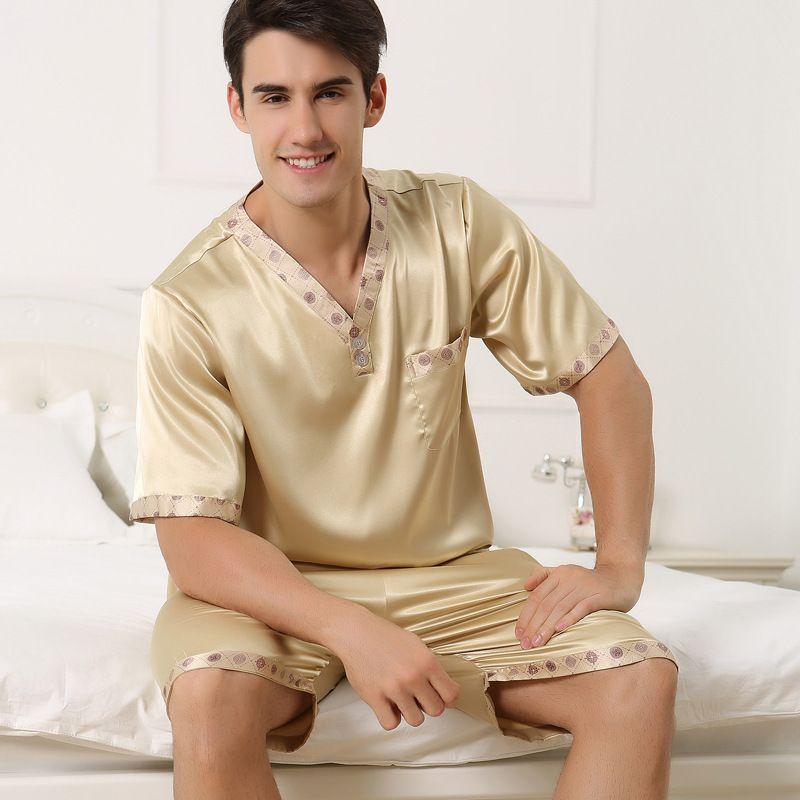 2017 г. Новая летняя мужская пижамы сексуальные пижамы мужчина с коротким рукавом шорты пижамы Модные мужские домашняя одежда Комплекты