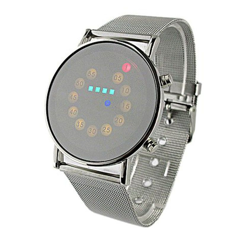 Gofuly LED-Licht Edelstahl Mode Armbanduhr Tropfenverschiffen