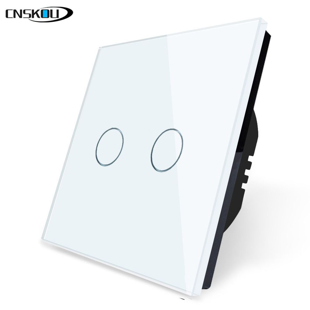 2019 Hot Sale EU Standard Touch Switch 2 Gang 1 Way,Crystal Glass Switch Panel,Single FireWire touch sensing wall switch