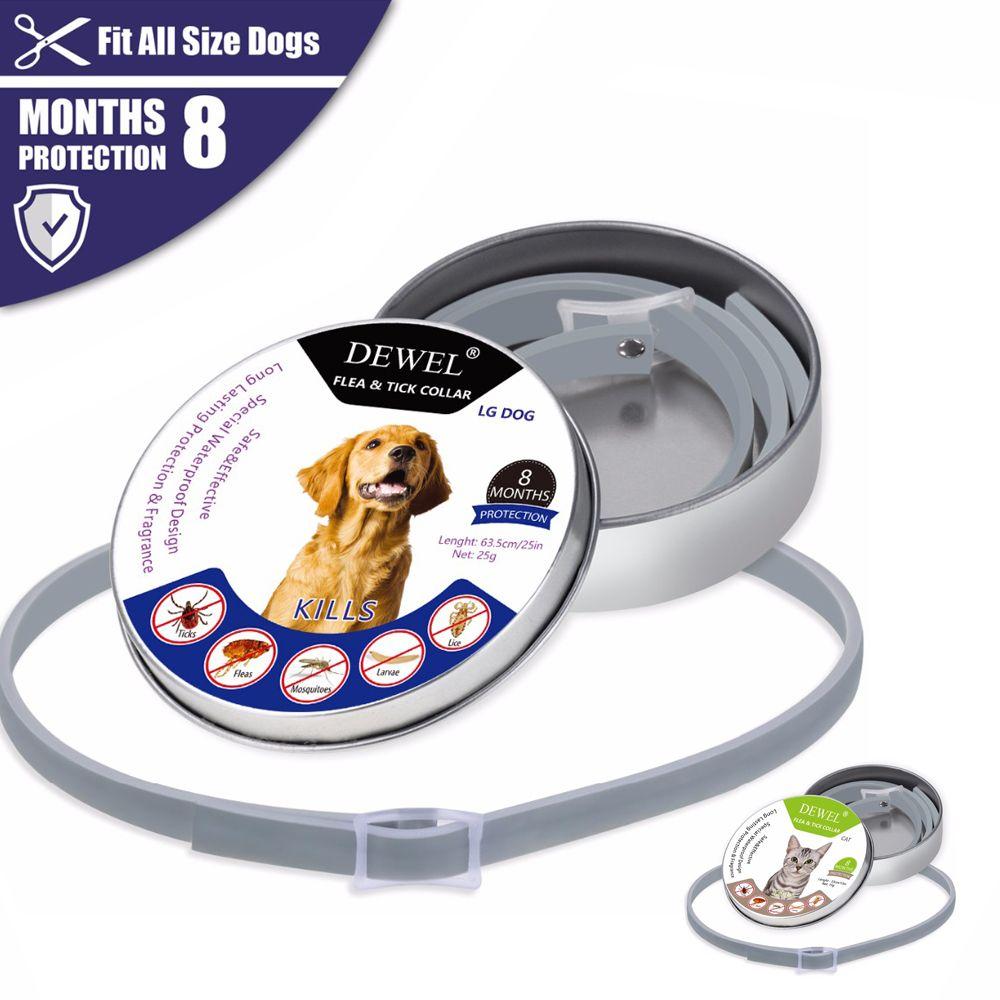 Dewel Pet Dog Collar Anti Flea Ticks collars for Cat dog Mosquitoes Outdoor Protective Adjustable Repels Dog Accessories