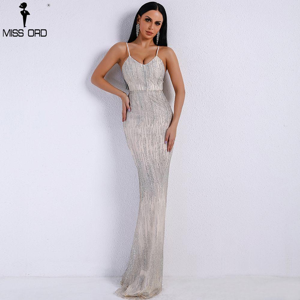 Missord 2018 Women Sexy V Neck Off Shoulder Backless Glitter Dresses Female Elegant Party Maxi Dress Vestdios FT9226