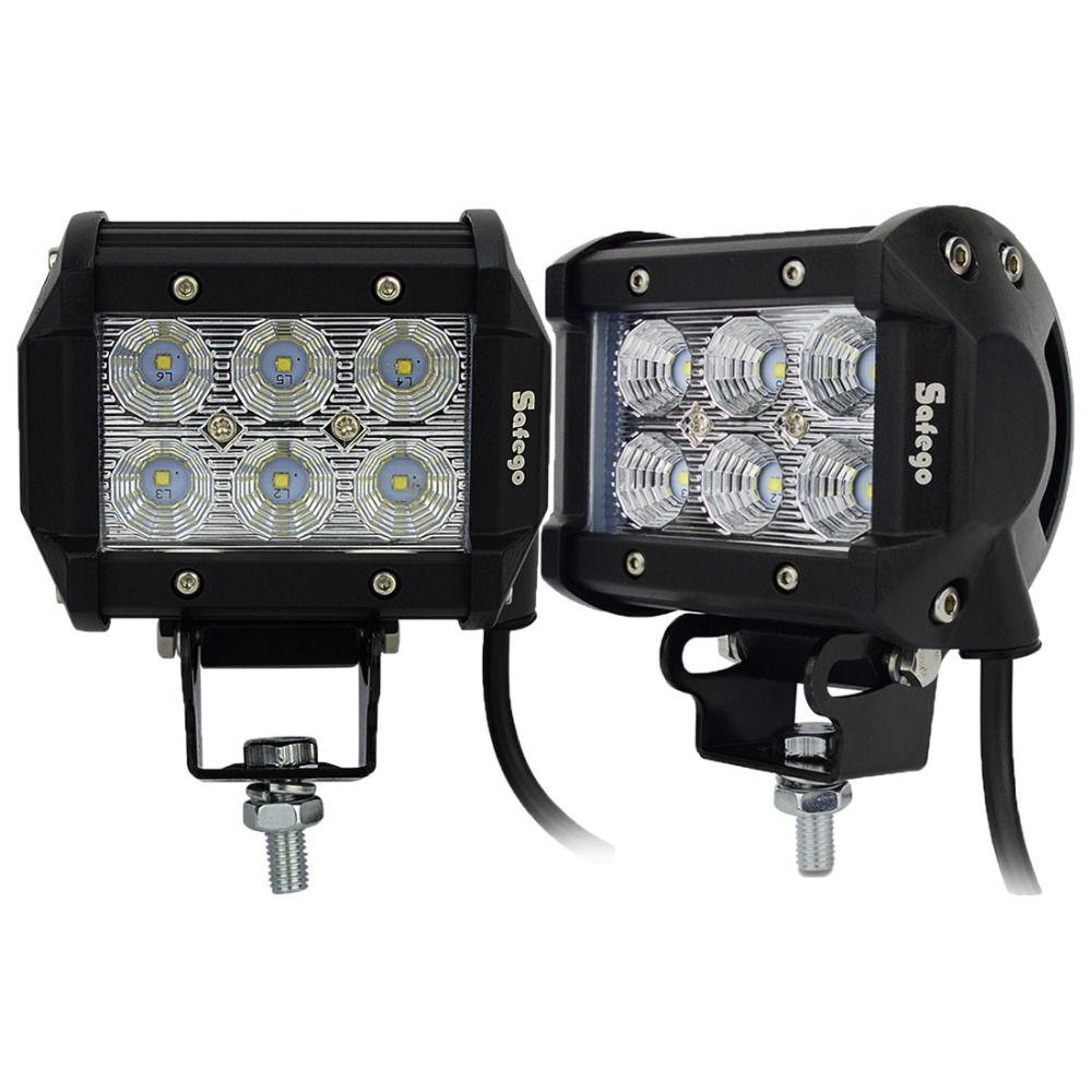 Safego 2 pcs 4 pouces Offroad LED Light Bar 18 w Led Lampe de Travail Spot Flood Lumière 12 v 24 v Offroad voiture Camion Remorque 4X4 Led Travail Lumière