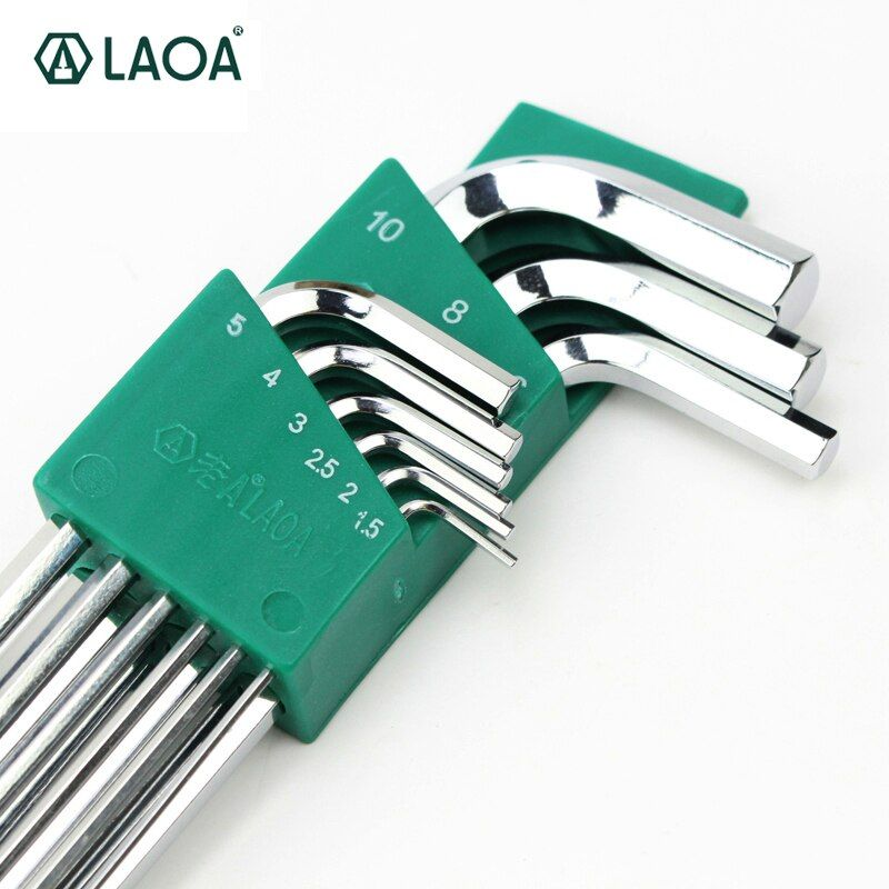 LAOA bonne qualité 9 pièces S2 clé hexagonale Allen clé à douille hexagonale clés ensemble clé pour réparation vélo ensemble d'outils à main