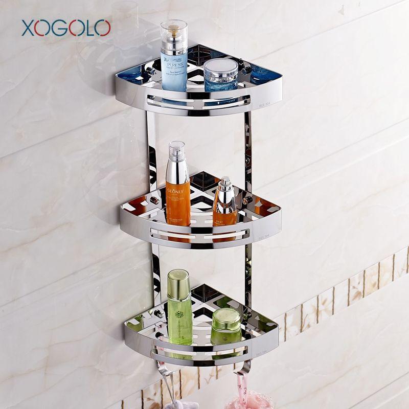 Xogolo Трехместный уровня Нержавеющаясталь 304 многофункциональный крепкий углу Ванная комната полки современные настенные полки Ванная ком...