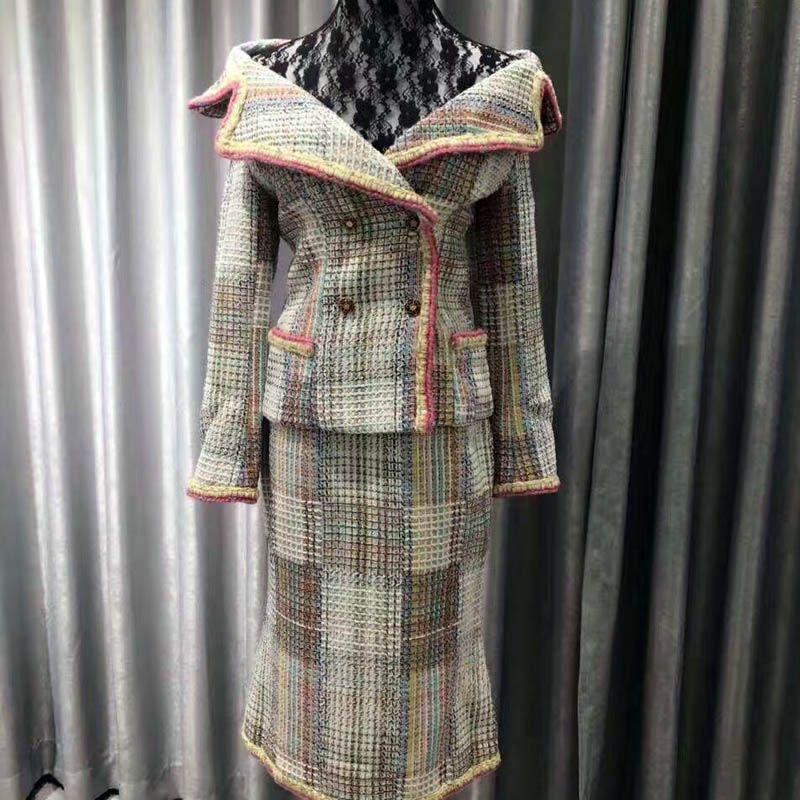 Tweed Jacke Für Frauen 2019 Runway Mantel Zweireiher Taste Langarm Herbst Winter Jacke Neue Top Qualität Nach XL-2XL