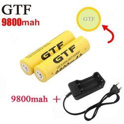 GTF 18650 Battery 9800mAh 3.7V Li-ion Rechargeable Batteries For Flashlight + EU/US Li-ion Battery Charger accumulator battery