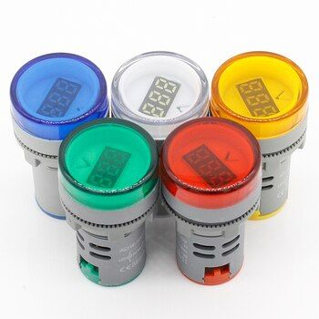 1pcs 22MM AC 60-500V LED Voltmeter voltage meter indicator pilot light Red Yellow Green white Blue