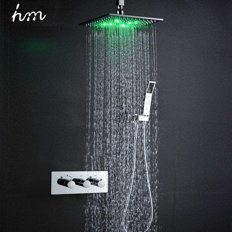 Hm Thermostat Wasserhahn Dusche Set 10 LED Dusche Kopf Angetrieben durch Wasser Regen Dusche Wasserhahn Saving Wasser Wand Montiert box Chrom