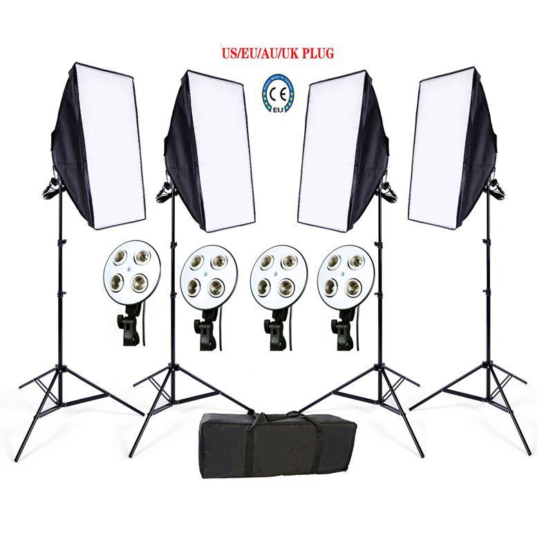 Photo Studio Softbox kit 4 light stand 4 light holder 4 softbox 1pc carrying bag video lighting kit soft box
