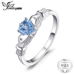 Jewelrypalace Alami Aquamarine Irlandia Claddagh Cincin Solid 925 Sterling Perak Cinta Hati Wanita Fine Perhiasan Batu Permata Dijual