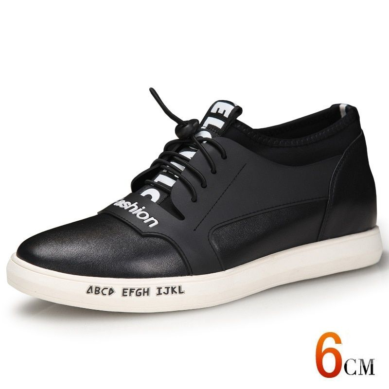 X1122 Fashion Genuine Leather Men Casual Flat Heel With Hidden Increased Height Insole Get Taller 6 CM Elevator Shoes