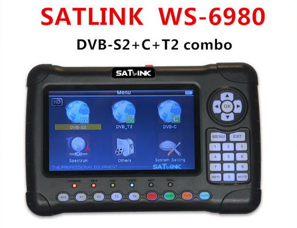 Satlink WS-6980 DVB-S2 DVB-T/T2 DVB-C Combo 6980 Digital Satellite Finder 7 zoll Hd-bildschirm Spektrumanalysator konstellation