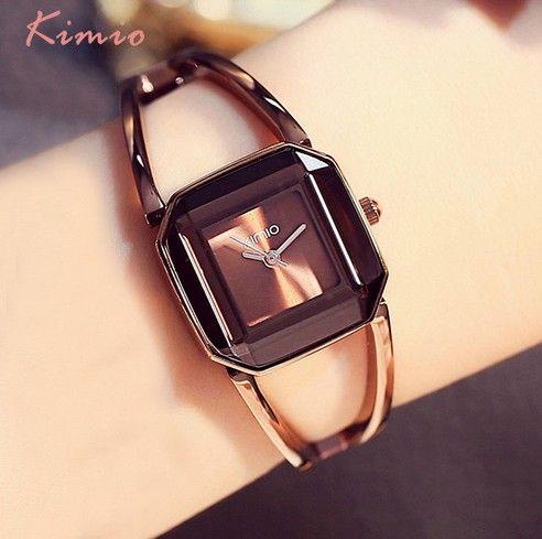 HK Marke KIMIO Luxus Uhren Frauen Quadrat Uhr Edelstahl Fashion Damen Armband-uhren Frauen Quarzuhr Weibliche Uhr