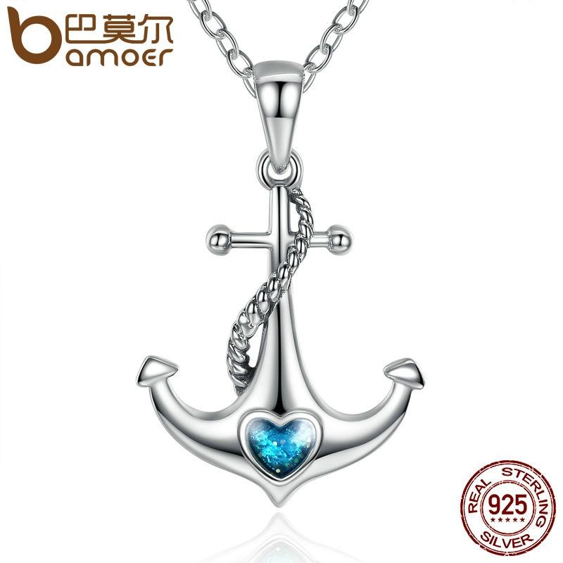 BAMOER Classic 925 Sterling Silver Blue Heart <font><b>Crystal</b></font> Anchor Pendant Necklaces Women Fashion Jewelry Engagement SCN051