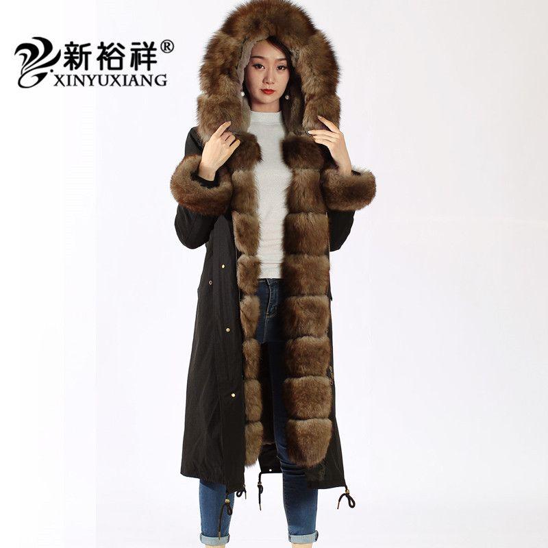 XINYUXIANG X-Long Real raccoon fur Parkas women Thick warm Natural Rex rabbit fur coat Black winter fur jacket Female 19B