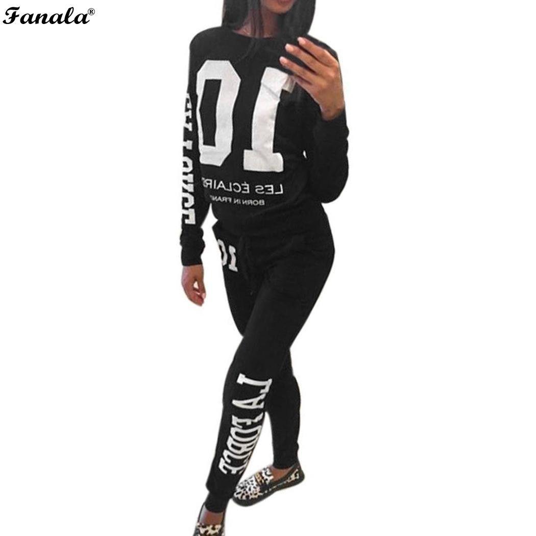 FANALA 2018 Tracksuit Women Autumn Winter Casual 2 Pieces Suit Set Letter Print Hooded Sweatshirt and Long Pants Leisure Suits