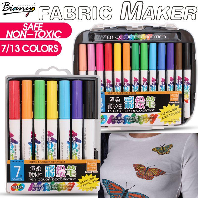 Bianyo 7/13 couleurs tissu Textile marqueur aquarelle croquis stylo ensemble pour artiste T-Shirt peinture Liner école papeterie fournitures