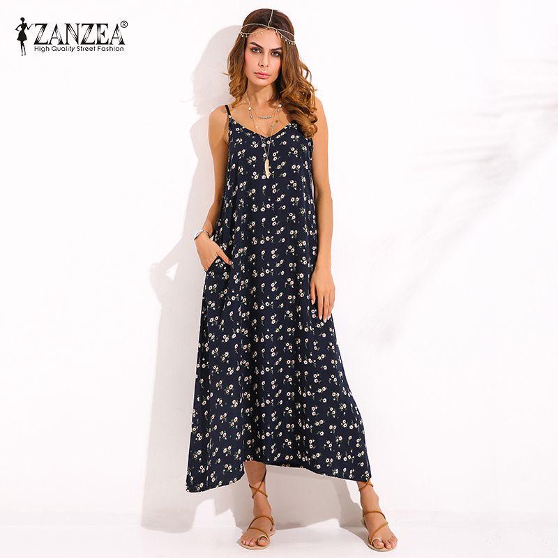 ZANZEA Boho <font><b>Womens</b></font> V Neck Floral Printed Sleeveless Summer Beach Party Spaghetti Strap Maxi Long Dress Sexy Sundress Vestidos