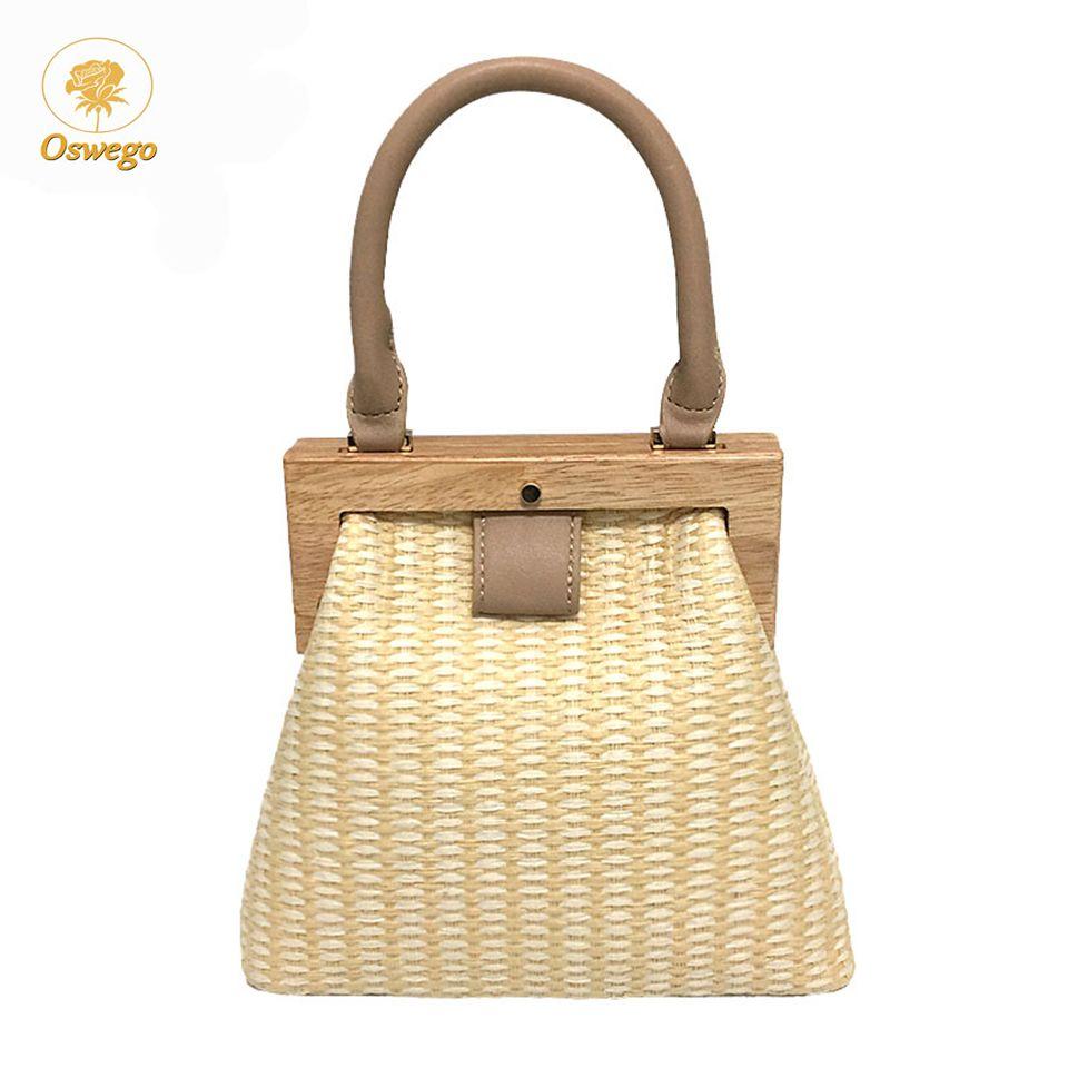 Oswego sac de paille 2019 nouvelle mode Clip en bois femmes sac à bandoulière été voyage sac de plage sacs à main de luxe femmes sacs Designer