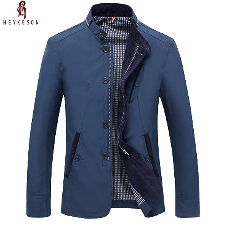 2018 HEYKEOSN Men Jacket Solid Color Jacket Zipper Simple Bussiness Coat Casual Jacket Gentlemen Coat Male Clothing