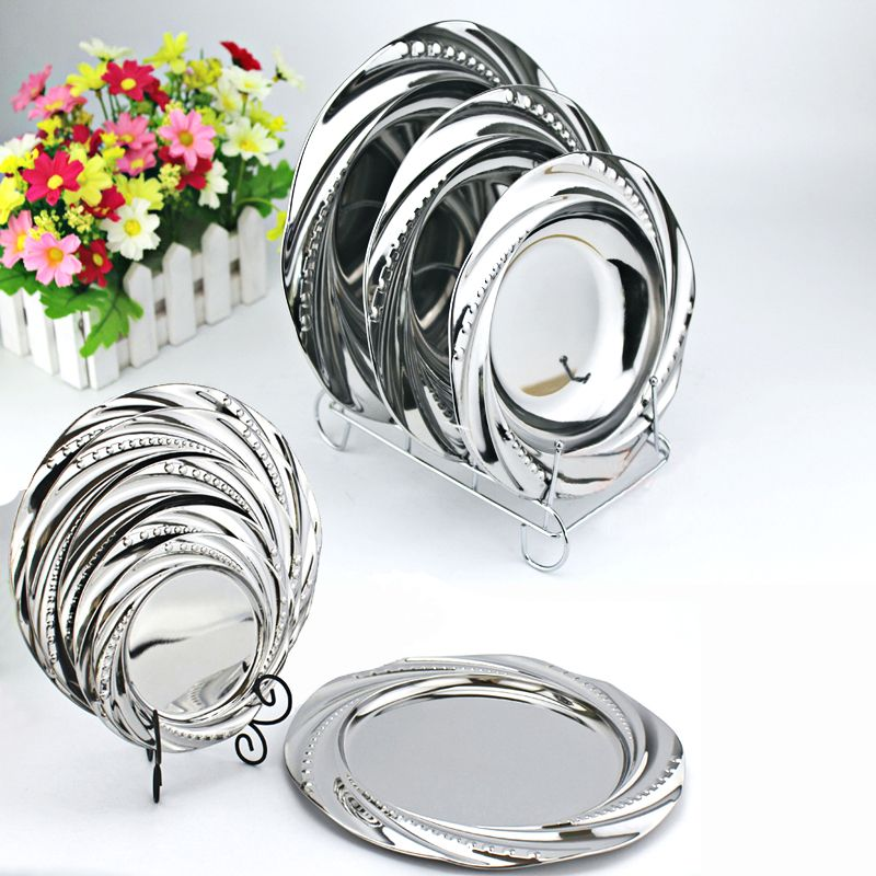 Plat de miroir de dentelle vaisselle d'acier inoxydable assiette de dîner légumes plat de Fruit plaque de feuille de Jade vaisselle assiette de soupe pour manger