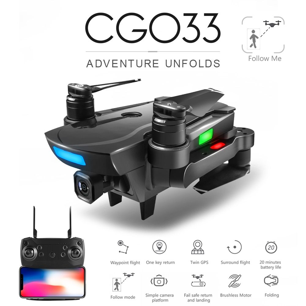 ZWN CG033 Brushless FPV Quadcopter With 1080P HD Wifi Gimbal Camera Or No Camera RC Helicopter Foldable Drone GPS Dron Kids Gift