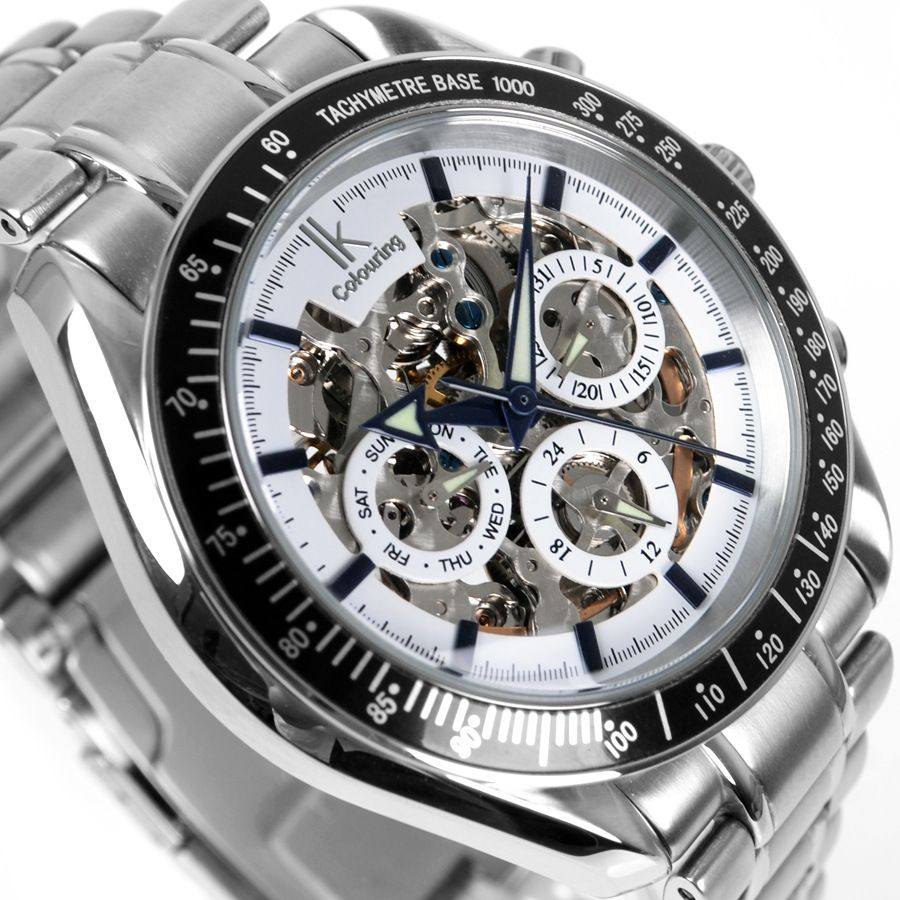 IK colouring Men Watch Luxury Brand Mechanical Watches Skeleton Male Clock 304 Full Steel Fashion Casual Automatic Wristwatch