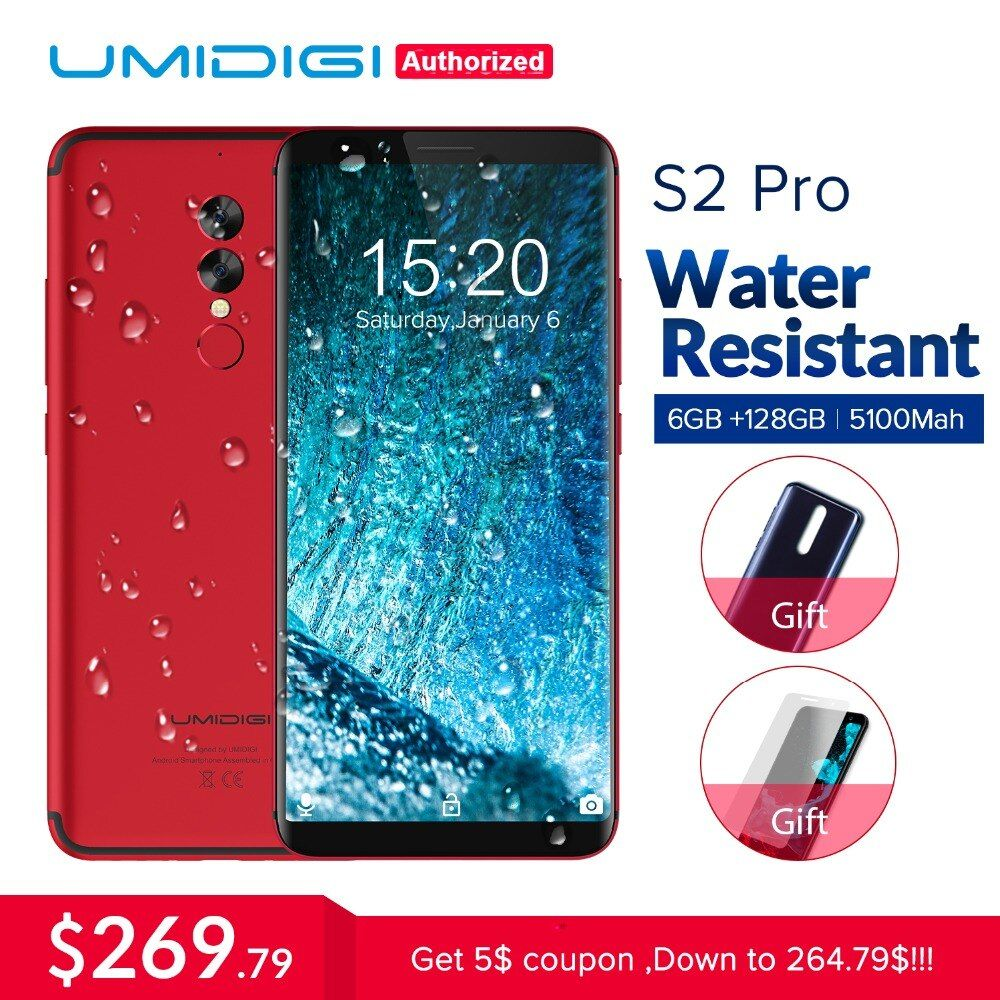 UMIDIGI S2 Pro Full Screen 6.0inch Smartphone 5100Mah 6GB+128GB Helio P25 Octa-Core Android 7.0 4G LTE Dual SIM Mobile Phone