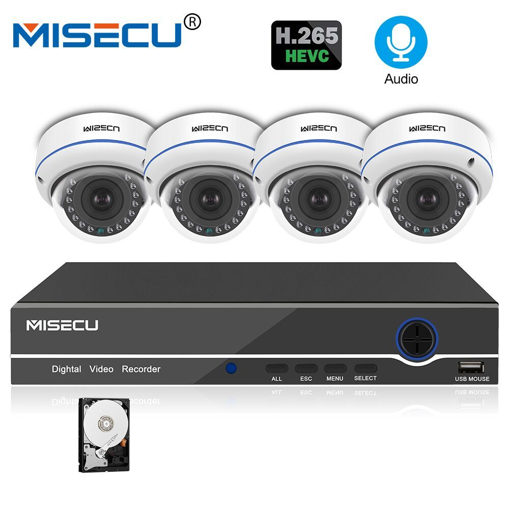 MISECU 8CH 1080P POE NVR Kit Security Camera CCTV System 4PCS Indoor Audio Record Sound IPDome Camera P2P Video Surveillance Set