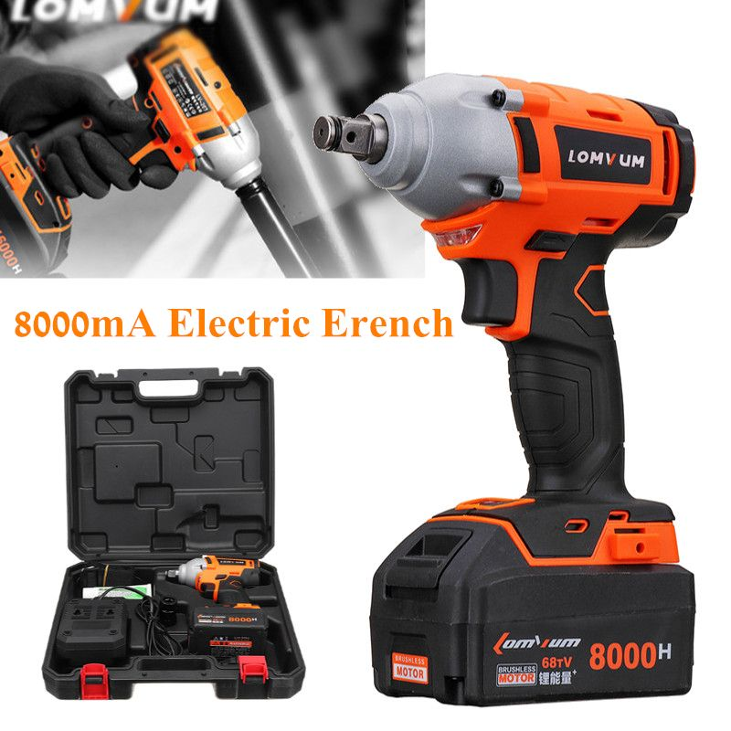 Cordless Electric Impact Wrench Drill 320N/m 20V 8000mAh Battery Lithium-ion Brushless Power Tool Nut High Torque Wrench Set
