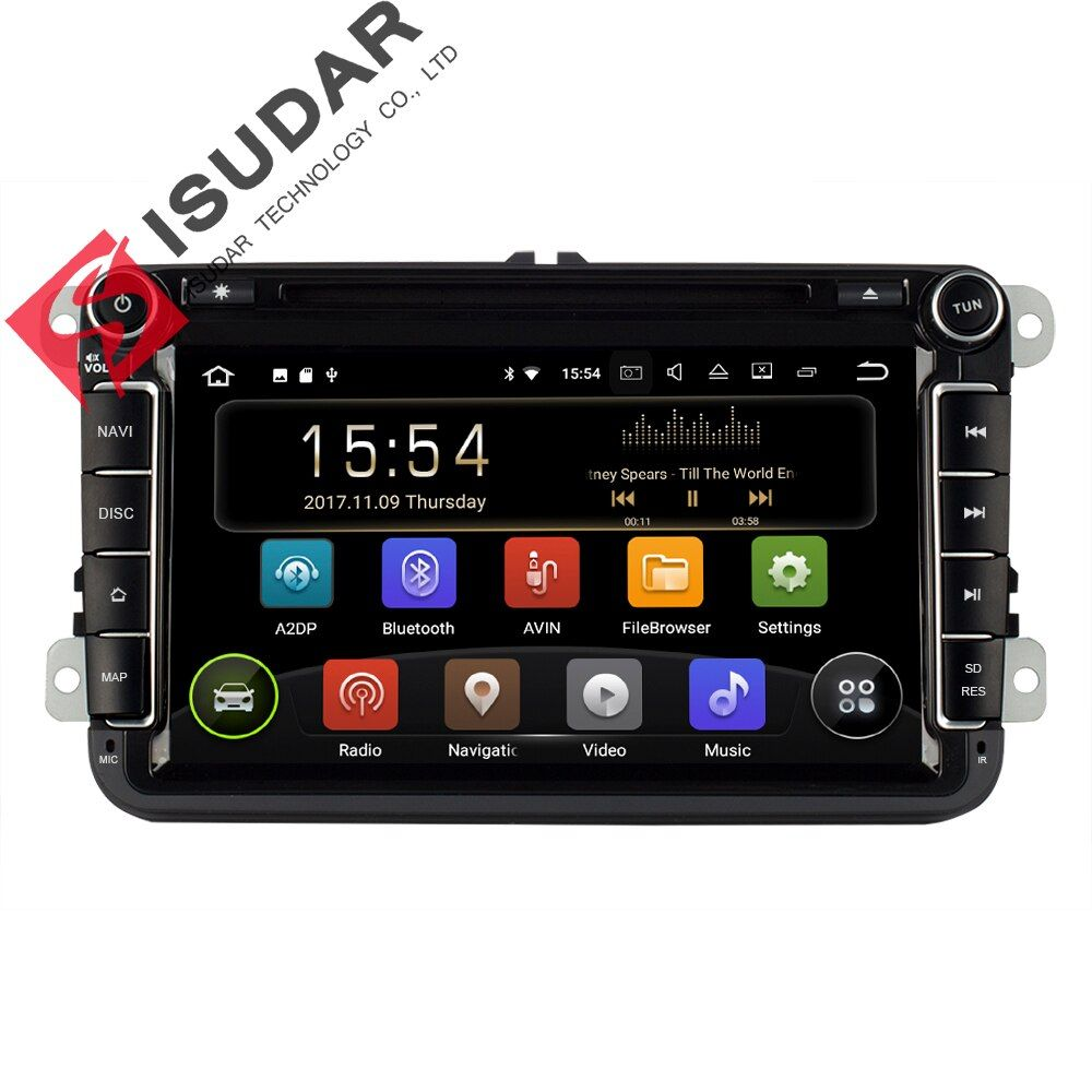 Isudar Car Multimedia Player Android 8.1 2 Din Auto DVD For Volkswagen/VW/Passat/POLO/GOLF/CC/Skoda/Octavia/Seat/Leon GPS Radio