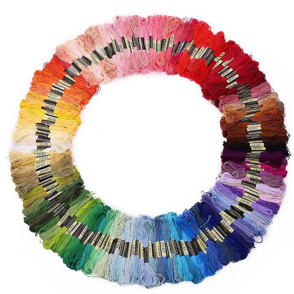 100 Skeins of Mixed Color Cross Stitch Threads Embroidery Floss Polyester Sewing Threads Art Craft Supplies Random Color