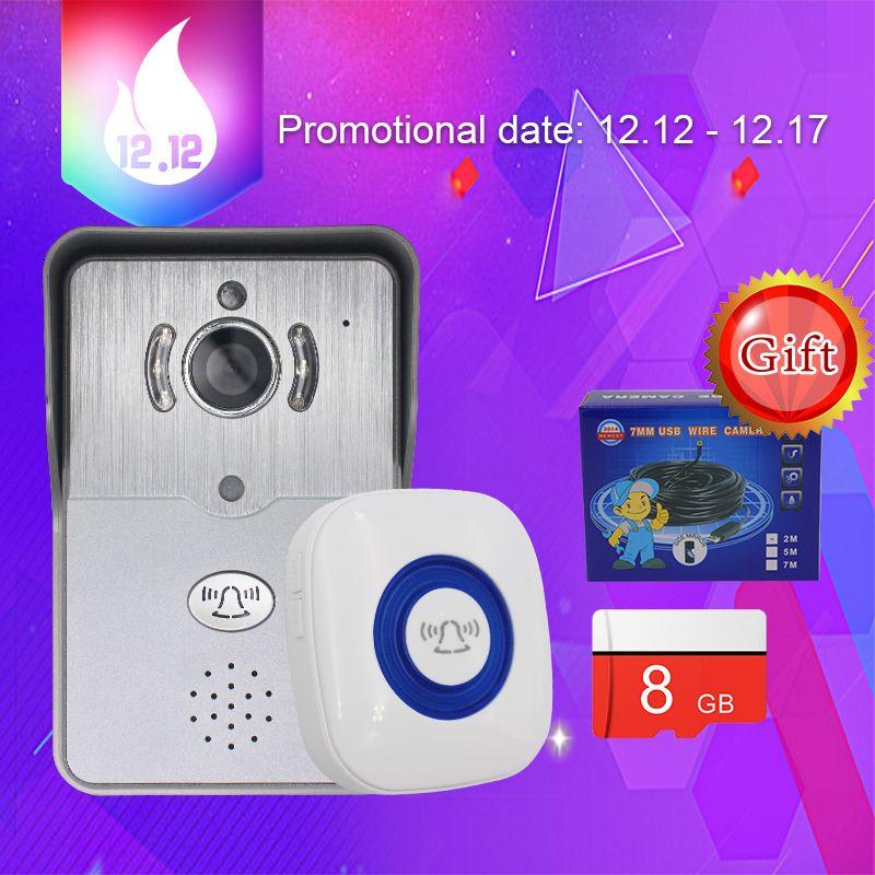 Portero automático de Vídeo Teléfono de Puerta de Intercomunicación Timbre de La Cámara wi-fi Inalámbrica para el Hogar Timbre de La Puerta de Intercomunicación Teléfono Timbre de la Cámara WiFi