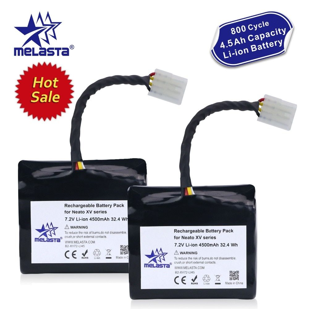 Melasta 2Pack 7.2V 4.5Ah Li-ion Battery for Neato XV XV-21 XV-11 XV-14 XV-15 XV-12 XV-25 Signature XV Pro with Imported Cells