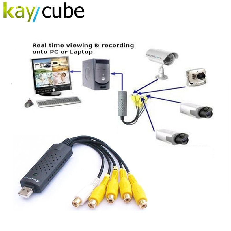 4 Channel USB Video Capture Card DVR For CCTV Camera Monitor DVD 4CH Usb Dvr Cards Board To VHS Video Recording PAL /NTSC
