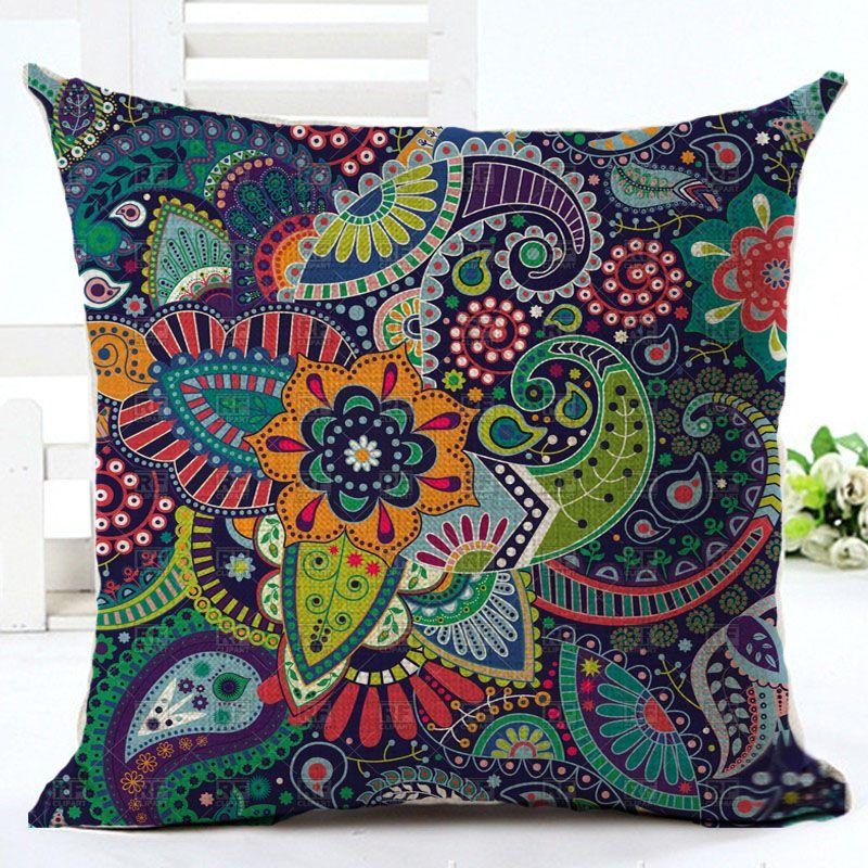 Woven Linen Geometric Cushion Cover Sofa Car Home Decorative Throw Pillow Bohemia Paisley Style SIZE 45*45 Cojines