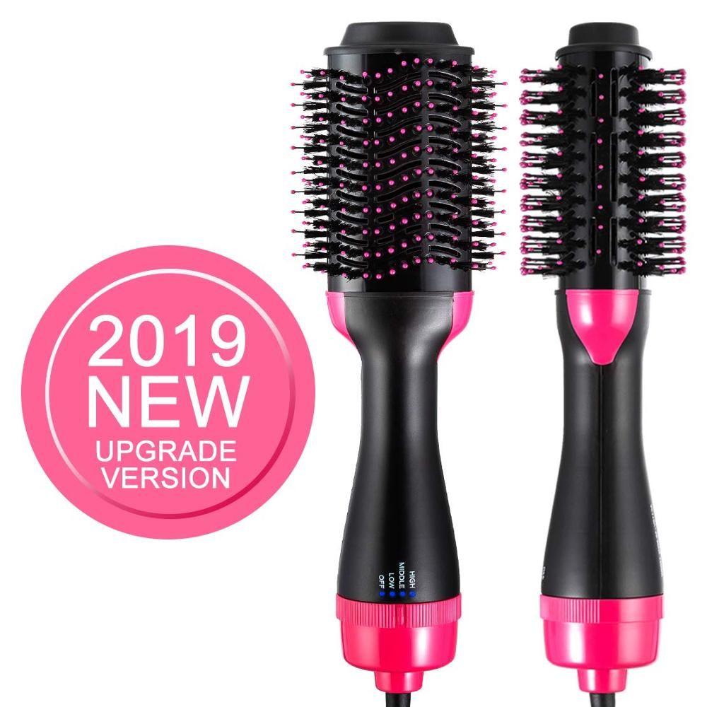 Professionnel une étape coup sèche cheveux brosse volumizer 2 en 1 lisseur et bigoudi Air chaud fer à friser rouleaux rotatifs peigne