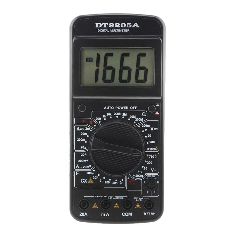 DT9205A Electric Multimeter Digital LCD Test Leads AC DC Ohm Meter Automatic Tool With Test Pen Battery Powerd