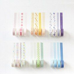 JUKUAI 4 Pcs/Lot Dasar Pelangi Kertas Washi Pita Set 15mm * 7 m Warna Dekorasi Tape Masking Stiker Scrapbooking sekolah Supplies56