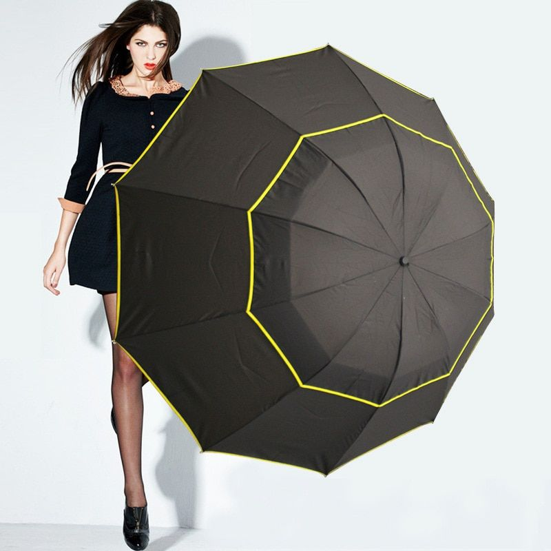 High Quality Double Golf Umbrella <font><b>Rain</b></font> Women Windproof Paraguas Alloy Skeleton Fashion Non-Automatic Business large Umbrella Men
