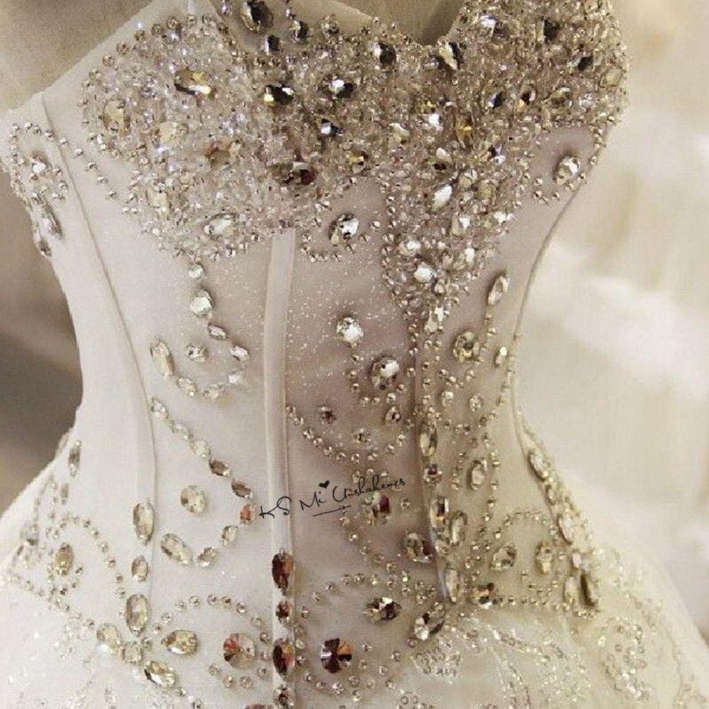 Kristallen Hochzeit Kleider Plus Größe Luxus Brautkleid Prinzessin Spitze Vintage Brautkleider Korsett Gelinlik Matrimonio Boda