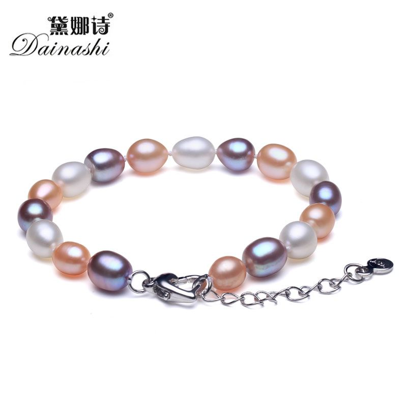 Elegant Mix 100% Natural Freshwater Pearl Women Strand Beaded Bracelet Fashion Vintage Good Quality Silver 925 Jewelry 2017