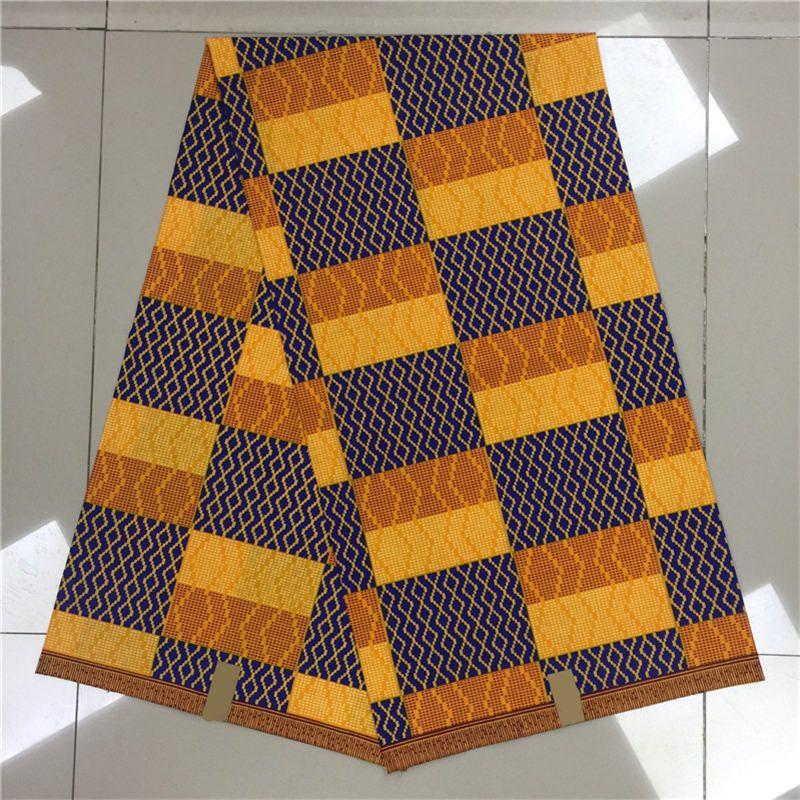 Ghana Kente Wax Fabric Veritable Super Hollandais Dutch Wax African Kente Prints Real Java Wax Fabric for Cloth in 6 yards